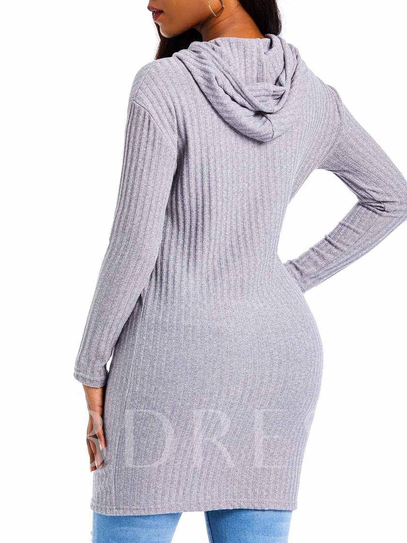 Drawstring Plain Hooded Mid-Length Women's Sweater