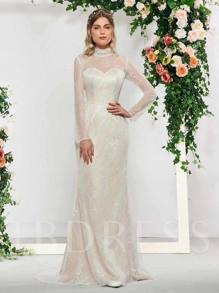 Button High Neck Lace Wedding Dress with Cloak