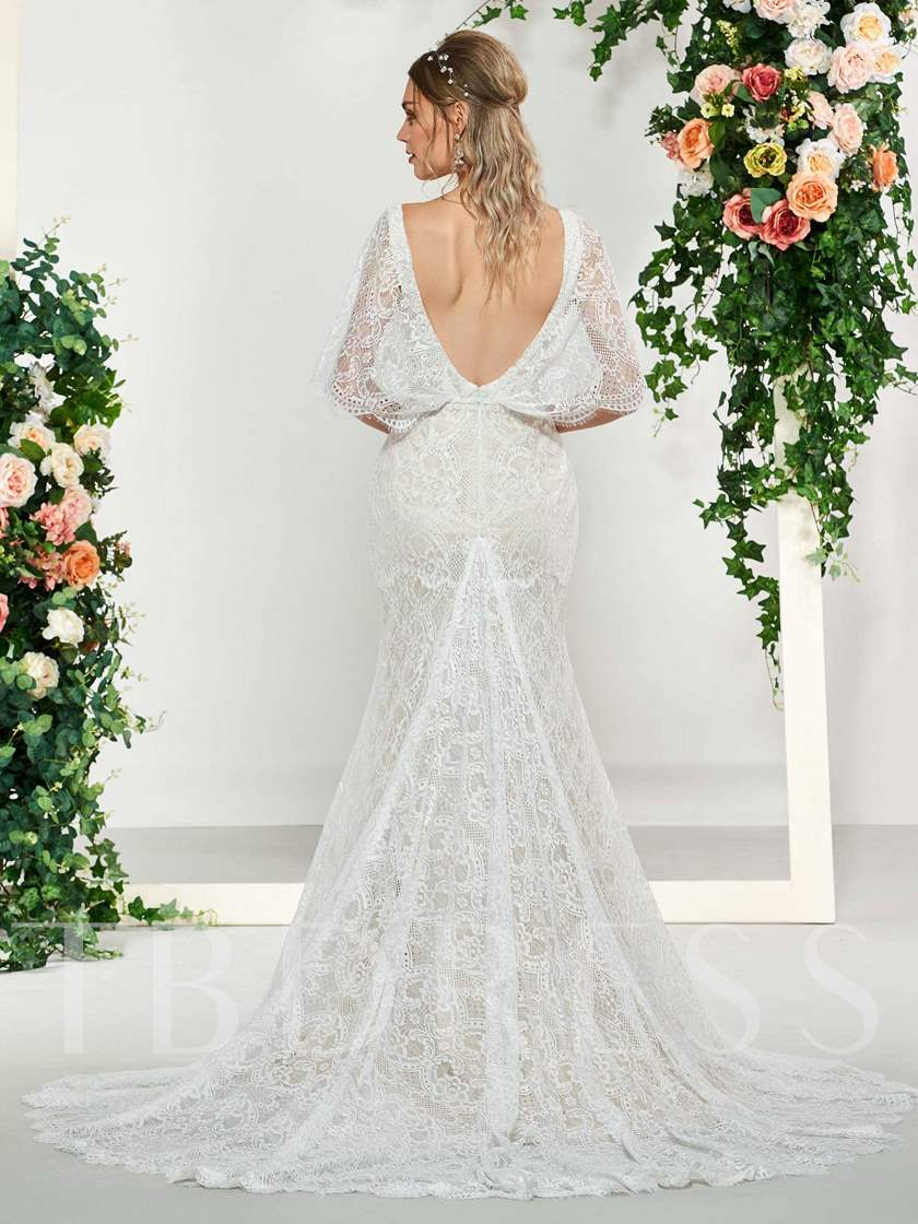 Mermaid Lace Wedding Dress with Sleeves