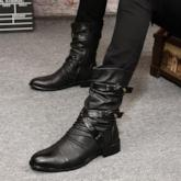 Plain Pointed Toe Side Zipper Md Calf Men's Martin Boots