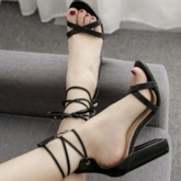 Open Toe Lace-Up Chunky Heel Heel Covering Sweet Sandals