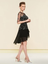 Half Sleeves Knee-Length Beading Black Cocktail Dress