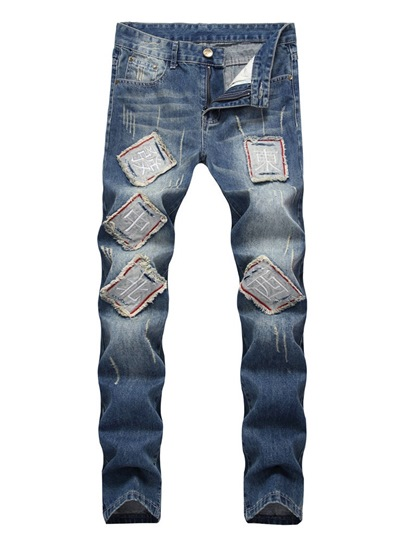 Straight Worn Patchwork Mid-Waist Mens Jeans