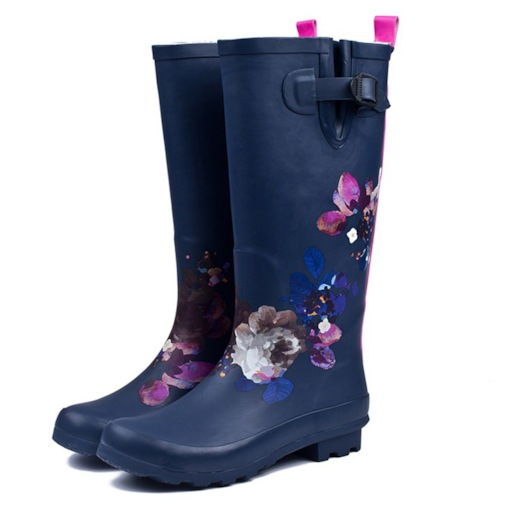 Slip-On Round Toe Block Heel Floral Buckle Waterproof Hunter Boots