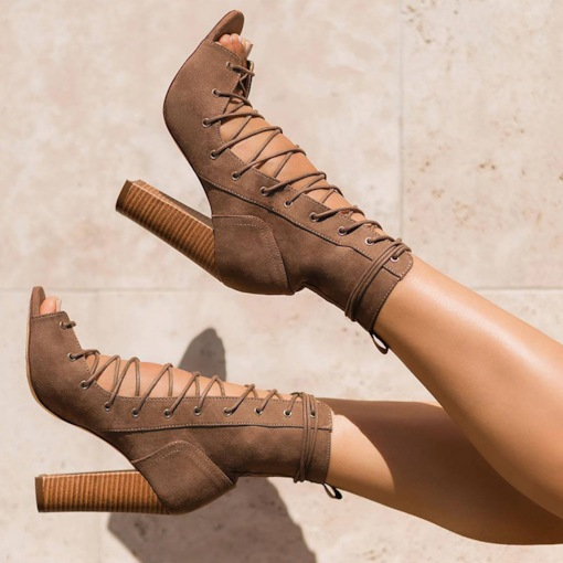 Chunky Heel Lace-Up Front Peep Toe Ankle Boots