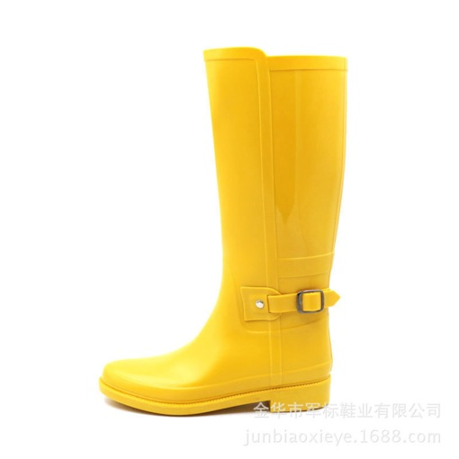 Slip-On Round Toe Block Heel Buckle Waterproof Women's Hunter Boots