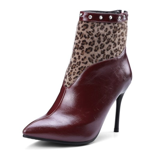 Back Zip Animal Print Patchwork Stiletto Heel Short Floss Ankle Boots
