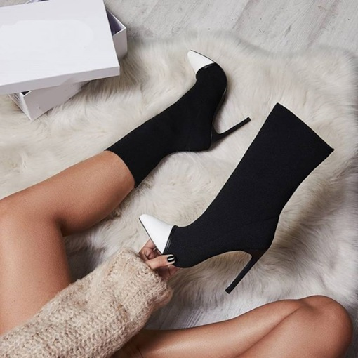 Pointed Toe Stiletto Heel Slip-On Color Block Patchwork Ankle Boots