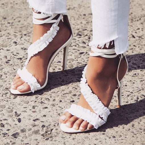 Falbala Lace-Up Stiletto Heel Heel Covering Open Toe Sexy Sandals
