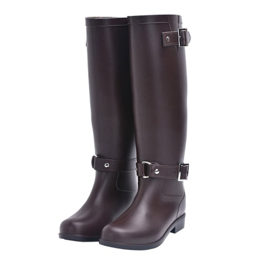 Slip-On Block Heel Round Toe Buckle Waterproof Women's Hunter Boots