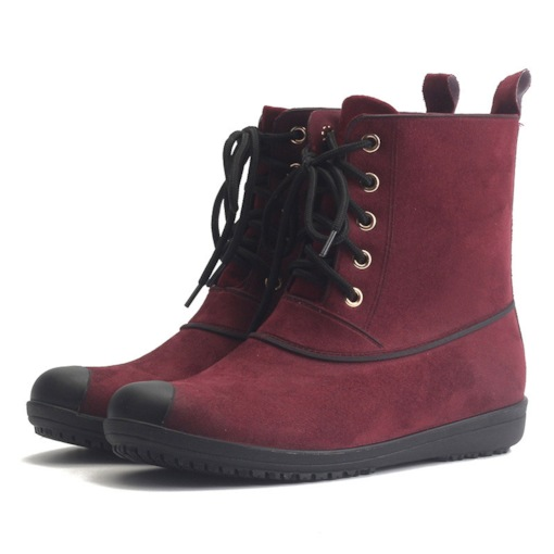 Lace-Up Front Round Toe Plain Casual Women's Hunter Boots