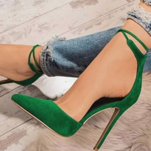 Stiletto Heel Slip-On Cross Strap Pointed Toe Chic Pumps