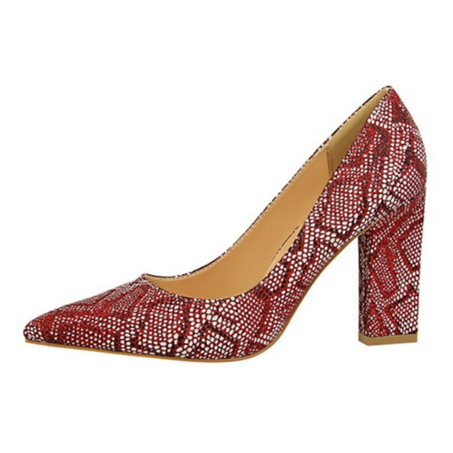 Chunky Heel Pointed Toe Slip-On Banquet Animal Print Prom Shoes