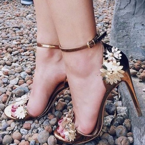Line-Style Buckle Open Toe Stiletto Heel Floral Elegant Sandals