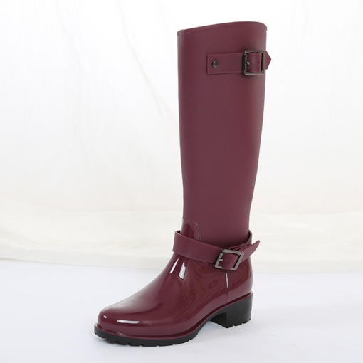 Block Heel Round Toe Side Zipper Plain Waterproof Hunter Boots