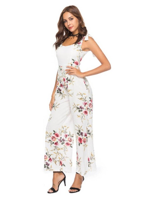 Full Length Lace-Up Floral Mid-Waist Women's Jumpsuits