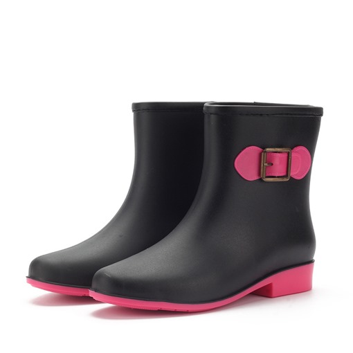 Block Heel Slip-On Round Toe Buckle PVC Waterproof Hunter Boots