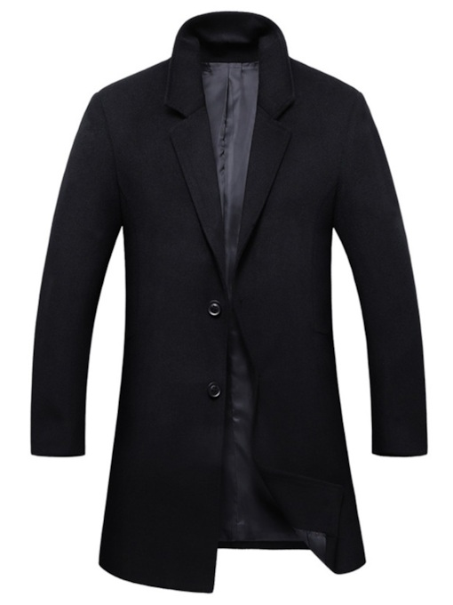 Plain Mid-Length Slim Men's Wool Blend Topcoat