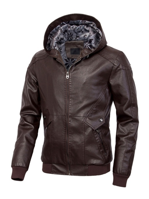 Plain Hooded Slim Men's PU Jacket