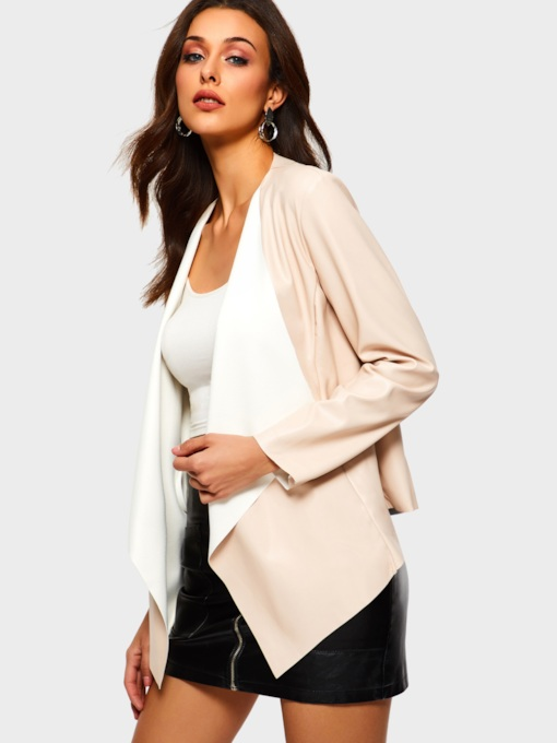 Wide-Lapel Wrapped Women's PU Jacket