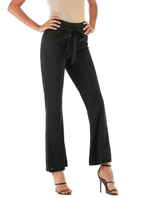 Plain Split Slim High-Waist Women's Casual Pants