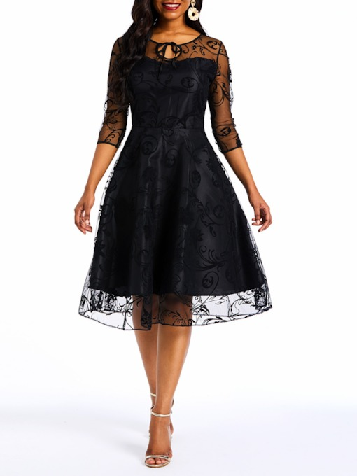 Patchwork Half Sleeve Elegant Mesh Women's Day Dress