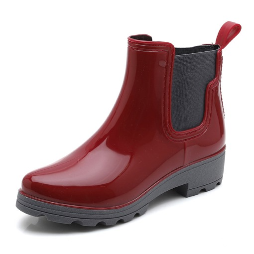 Elastic Plain Block Heel Round Toe Waterproof Hunter Boots