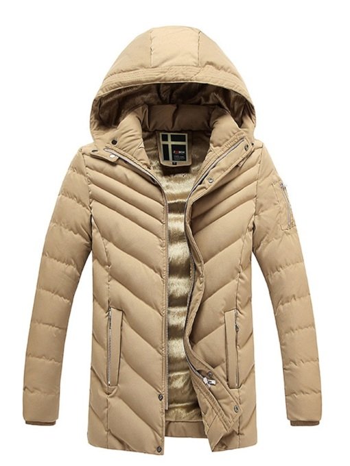 Plain Standard Casual Men's Down Jacket