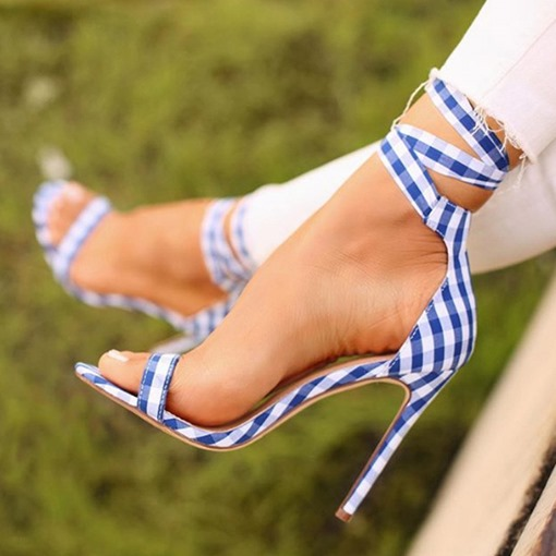 Lace-Up Open Toe Stiletto Heel Heel Covering Cross Strap Plaid Sandals