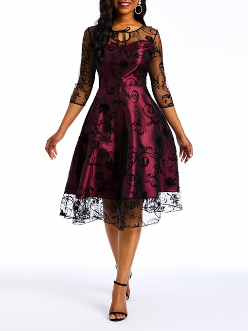 Mesh Three-Quarter Sleeve Elegant Women's Lace Dress