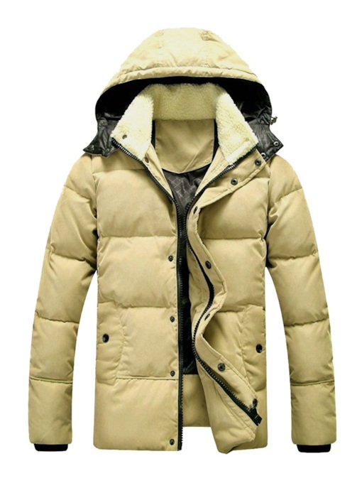 Straight Plain Zipper Thick Men's Down Jacket