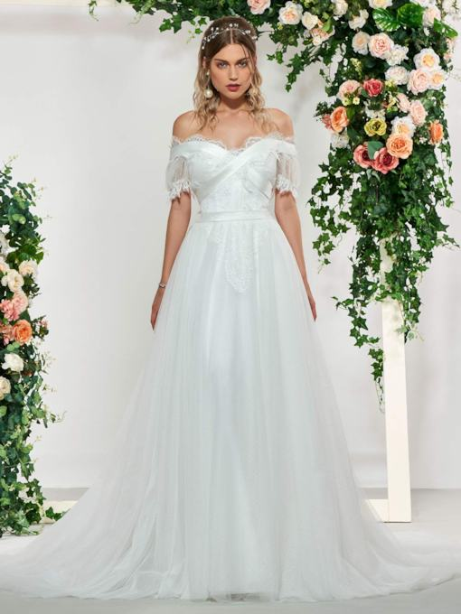 Short Sleeve Lace Beach Wedding Dress 2019