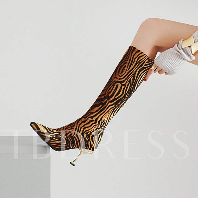 Animal Print Stiletto Heel Pointed Toe Sexy Customized Knee High Boots