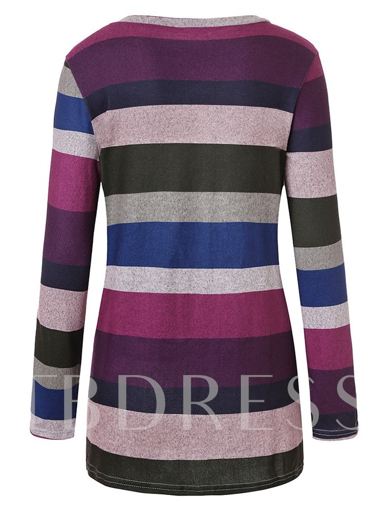 Mid-Length Color Block Stripe Asymmetric Women's T-Shirt