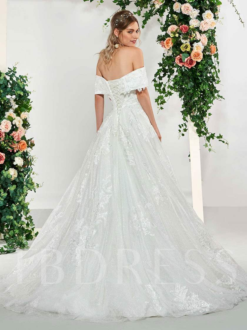 Off the Shoulder Ball Gown Appliques Wedding Dress 2019