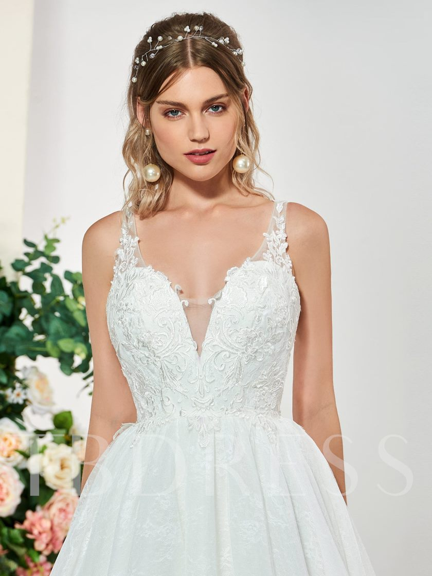 Straps V-Neck Lace Appliques Wedding Dress