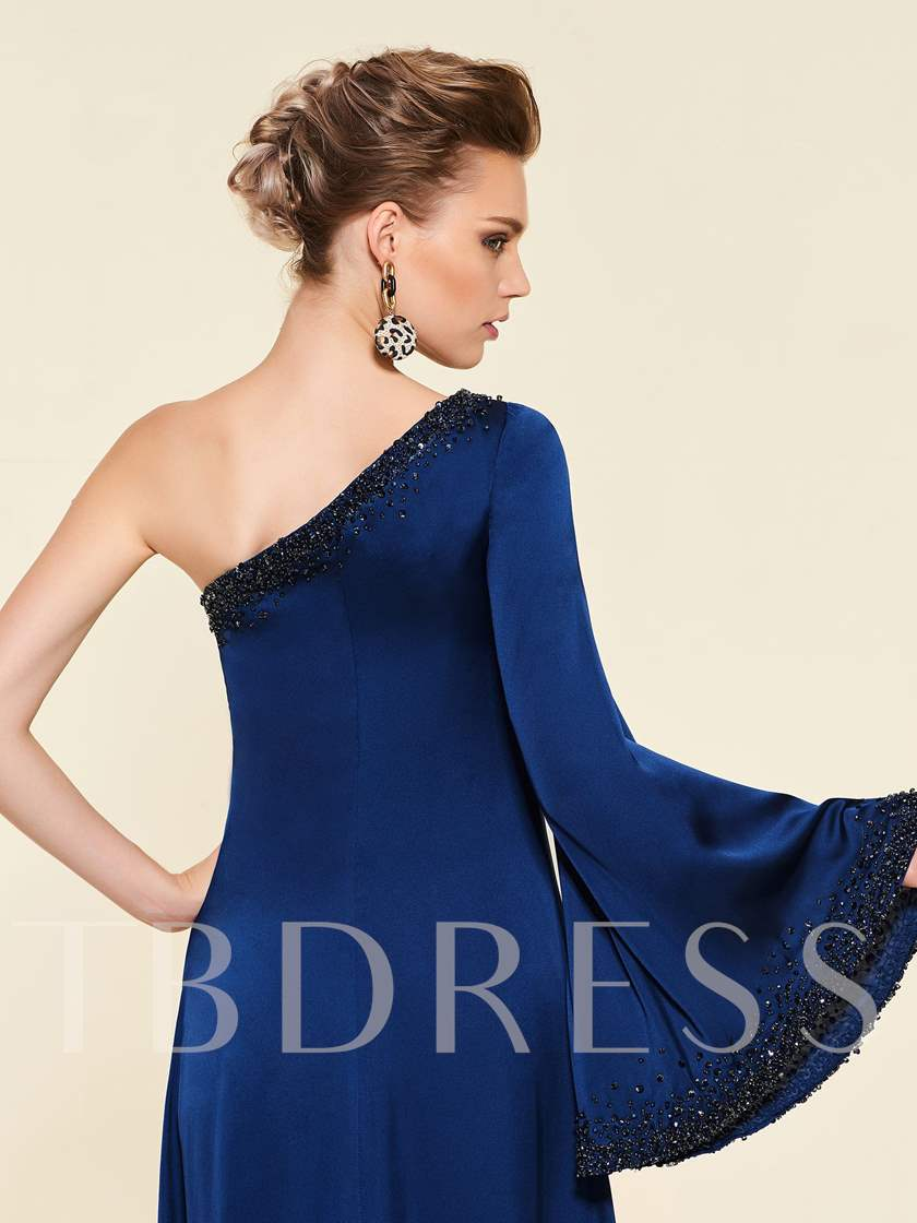 Long Sleeve Beading Mother of the Bride Dress