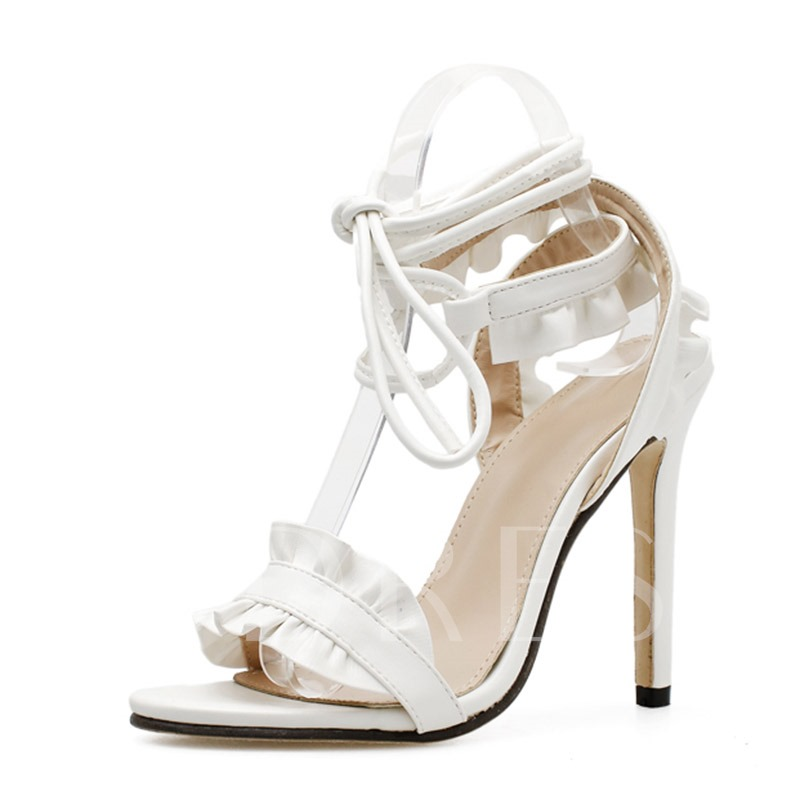 Stiletto Heel Ankle Strap Lace-Up Open Toe Ladylike Sandals