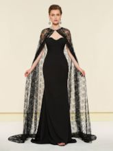 Lace Mermaid Mother of the Bride Dress with Cloak
