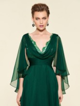 Lace Draped V-Neck Sleeves Mother of the Bride Dress