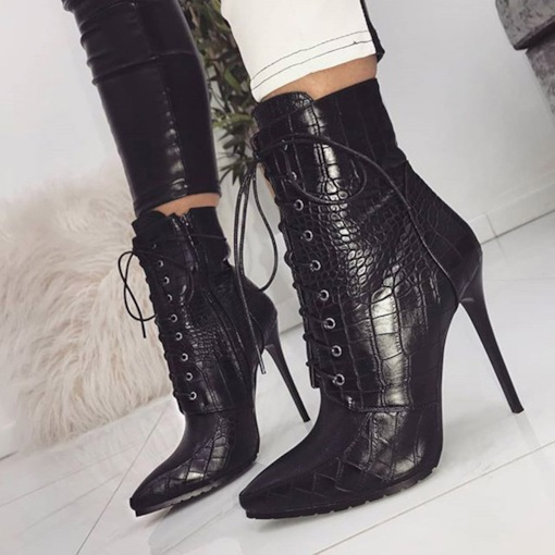 Animal Print Stiletto Heel Plain Side Zipper Pointed Toe Ankle Boots