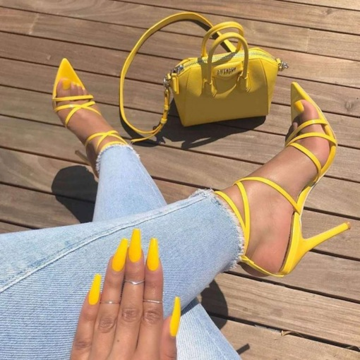 Neon Buckle Strappy Stiletto Heel Open Toe Plain Sandals