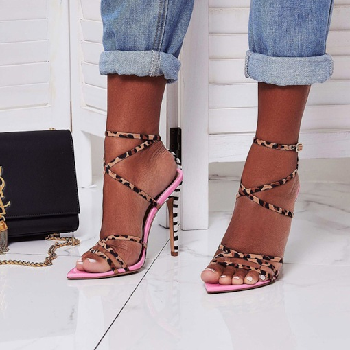 Open Toe Buckle Ankle Strap Stiletto Heel Leopard Sandals