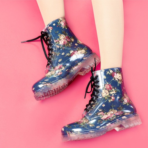 Floral Lace-Up Block Heel Round Toe Waterproof Women's Hunter Boots
