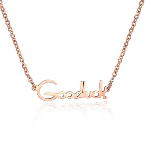 Concise Rose Gold Letter Pendant Necklace
