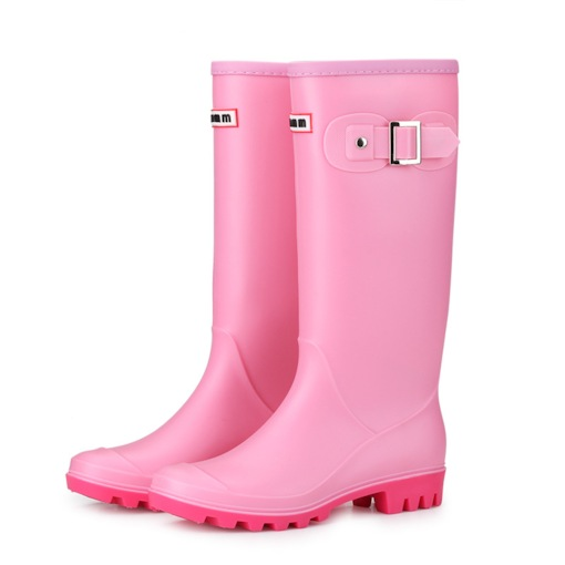 Block Heel Round Toe Slip-On Plain Waterproof Women's Hunter Boots