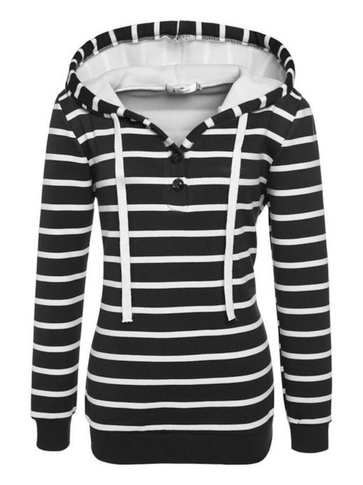 Color Block Stripe Drawstring Pullover Women's Hoodie