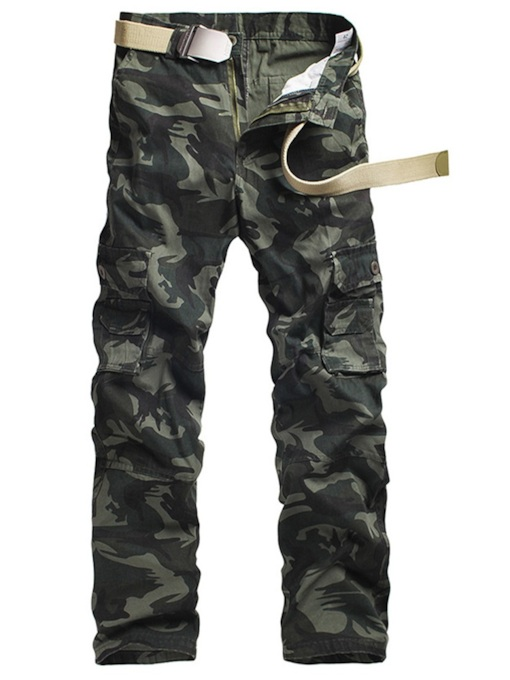 Straight Camouflage Print Zipper Men's Casual Pants