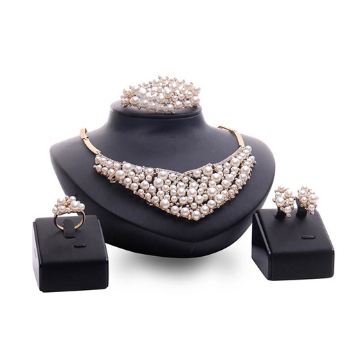 Hot Sale Plain Pearl Decorated 4 Piece Party Jewelry Sets