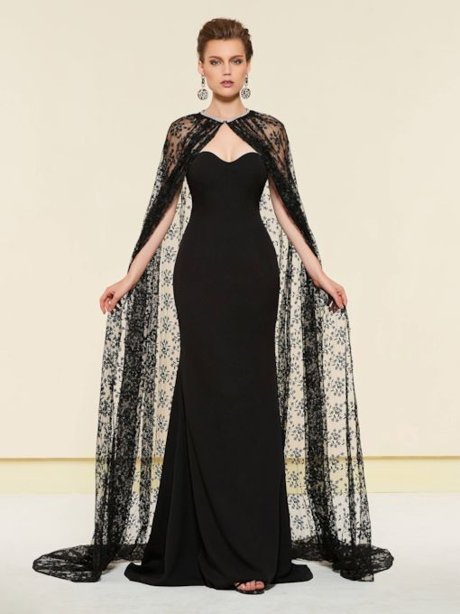 Mermaid Wedding Party Dress with Lace Cloak